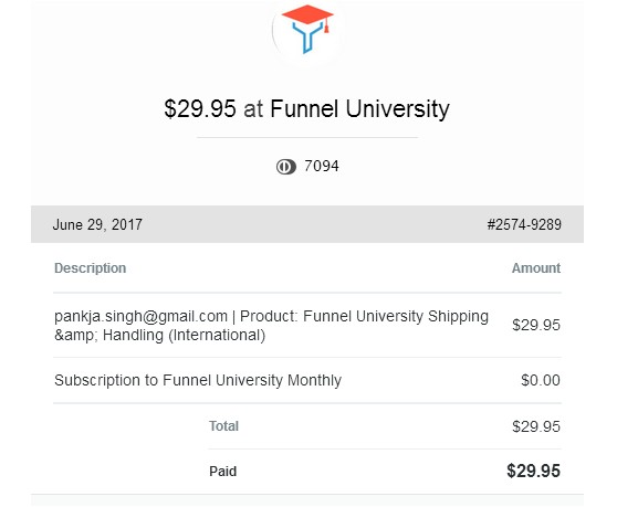 Funnel U receipt