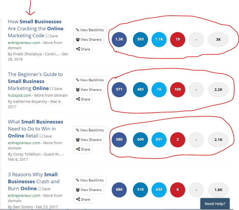 search results of buzz sumo for small business tools