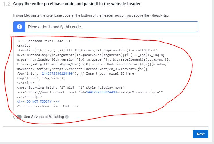 copy facebook tracking pixel code