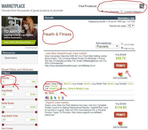 health and fitness clickbank category