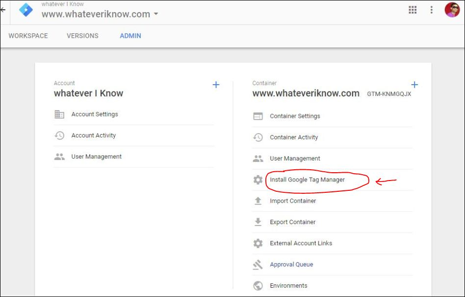 install google tag manager account