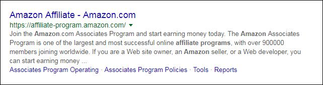 Amazon Affiliate Program Link in google