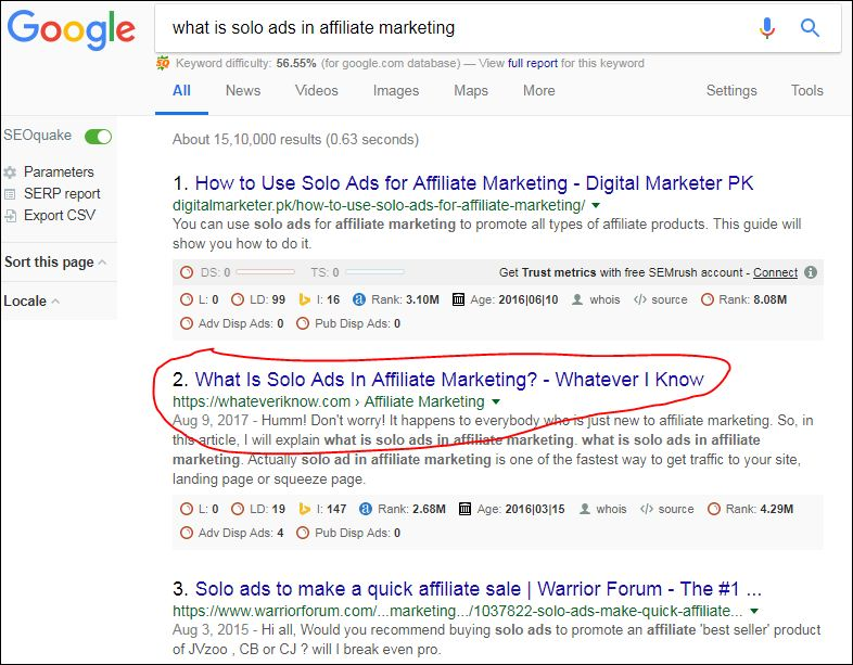 solo ads google screenshot