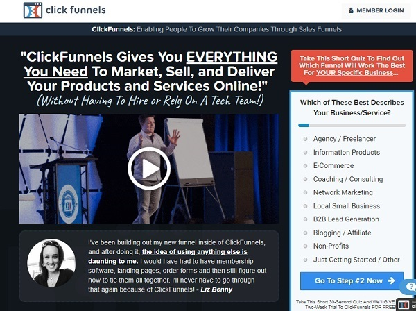 Clickfunnels first page