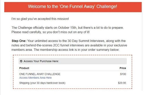 One funnel away challenge receipt