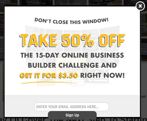 15 day online business builder challenge pop up