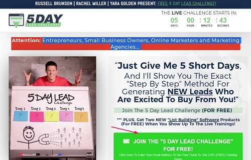 5 day lead challenge sales page