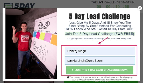 pop up page of 5 day lead challenge